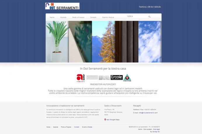 realizzazione sito web In Out Serramenti